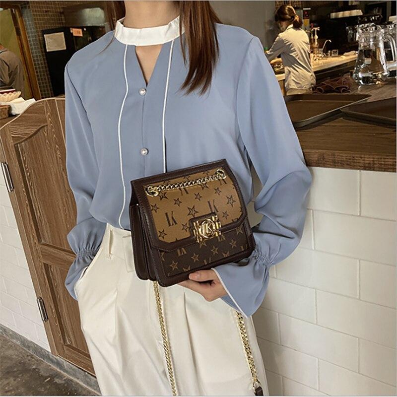 bags 2021 new trendy big-name leather presbyopia fashion chain bag high-quality small square bag female messenger shoulder bag