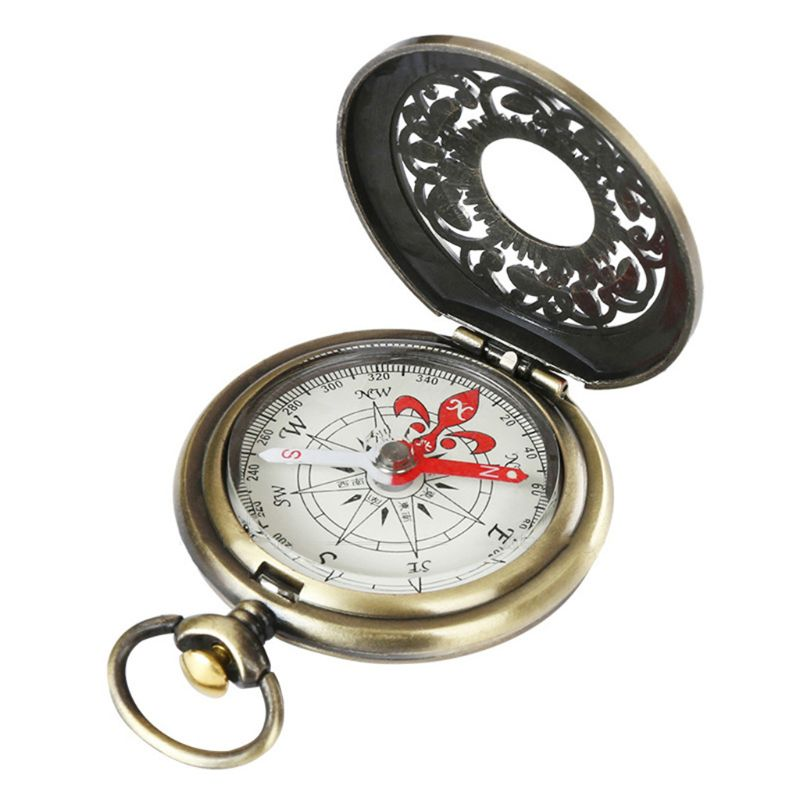 Vintage Bronze Compass Pocket Watch Design Outdoor Hiking Navigation Kid Gift