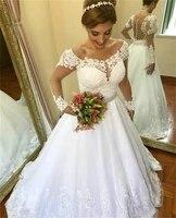 nuoxifang vestido de noiva 2020 vintage appliques long sleeves wedding dress a line lace bridal gown casamento robe de mariee