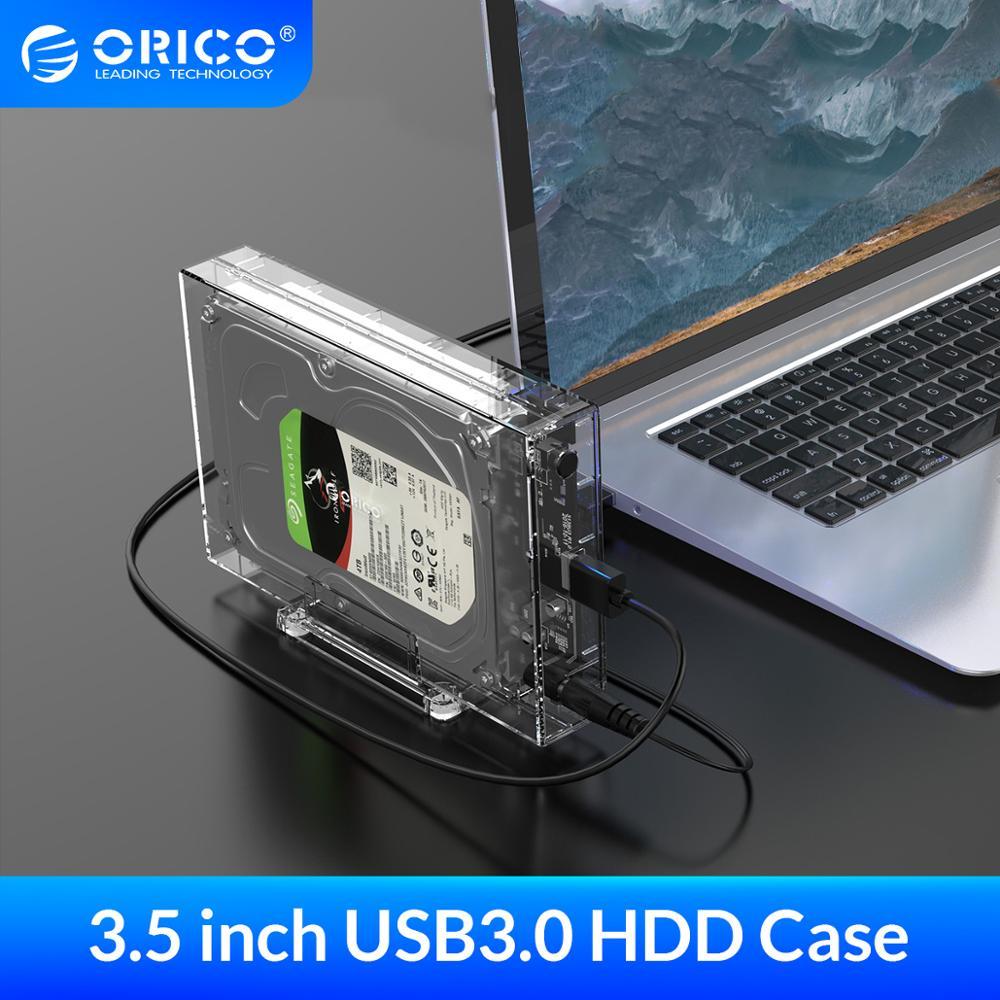 ORICO SATA כדי USB3.0 HDD מארז גבוהה מהירות 5Gpbs שקוף 3.5 אינץ דיסק קשיח מקרה תמיכת UASP HDD עגינה תחנה