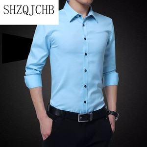 Clothes Men's Simple Formal White Turn-down Collar Solid Men Shirt Long Sleeve Red Black Shirts Dress Casual Slim Fit Clothing