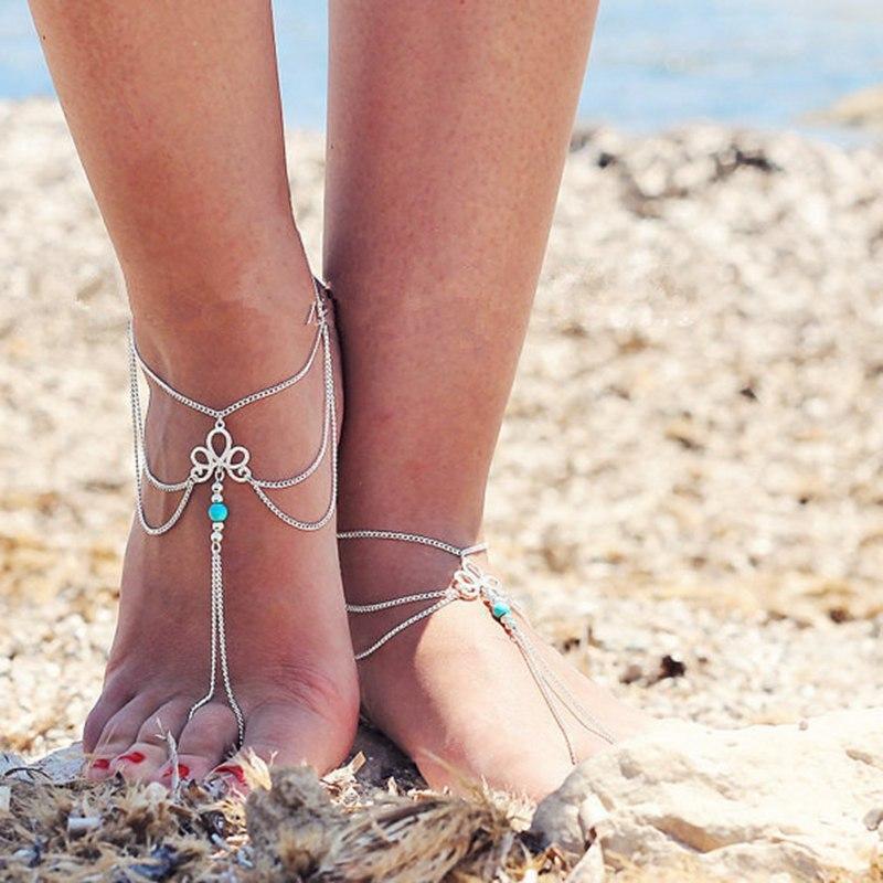 Novo europeu e americano jóias moda simples retro oco padrão turquesa frisado borla dedo praia tornozeleira pé jóias