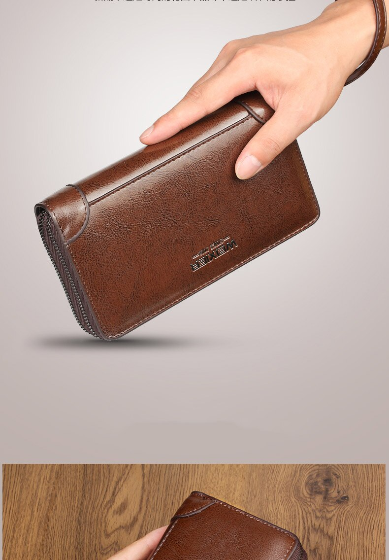 New Genuine Leather Men Clutch Bags Wallets Leather Men Bags Wallet Leather Long Wallet With Coin Pocket men Purse men s wallet genuine leather clutch male purse for men zip clutch men s genuine leather wallet men portomonee money bag new 9032