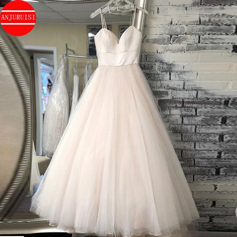 Get New Spaghetti Strap Beach Wedding Dresses 2020 Vestido Noiva Praia Simple White Ivory Tulle Casamento Bridal Gown Custom Made