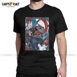 Anime demônio slayer t-shirts homem kamado tanjirou vintage 100% algodão t camisa o pescoço manga curta t camisa 4xl 5xl roupas
