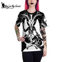 [Youre My Secret] Goat Head Women T-Shirt Satan Devil Black Top Gothic Style XXL Size T-Top Pentagram Witchy Ouija Tee Street