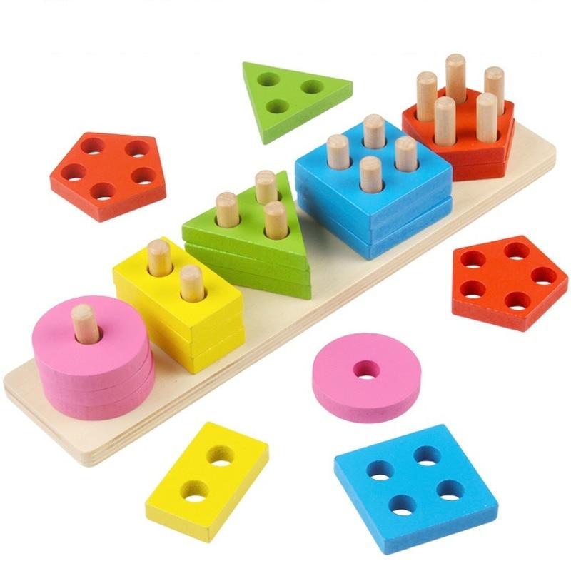 Детские деревянные доски, блоки для игр, строительные блоки, Геометрическая сортировочная доска, блоки, детские развивающие игрушки, Монтес...