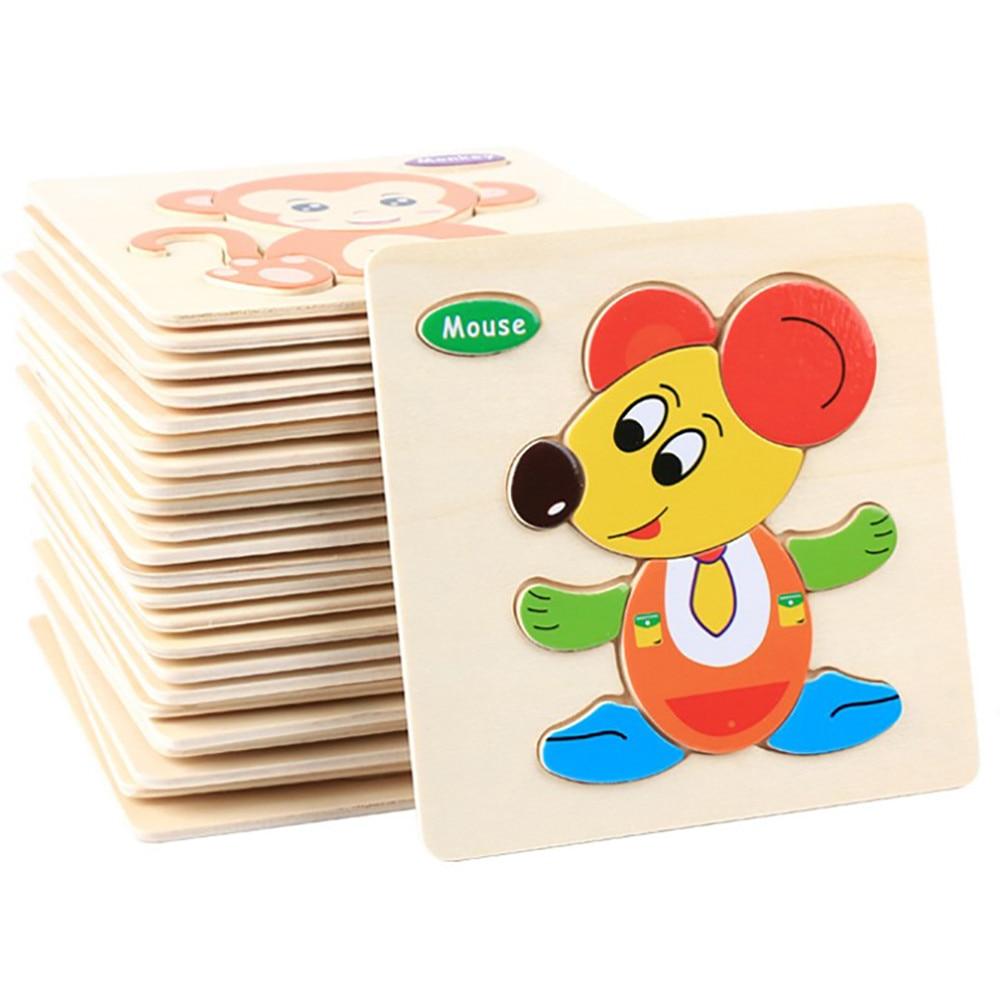 Rompecabezas de madera en 3D para niños, rompecabezas de animales de dibujos animados para bebés/rompecabezas de tráfico, juguete educativo para niños, rompecabezas de madera de tamaño pequeño 15*15CM