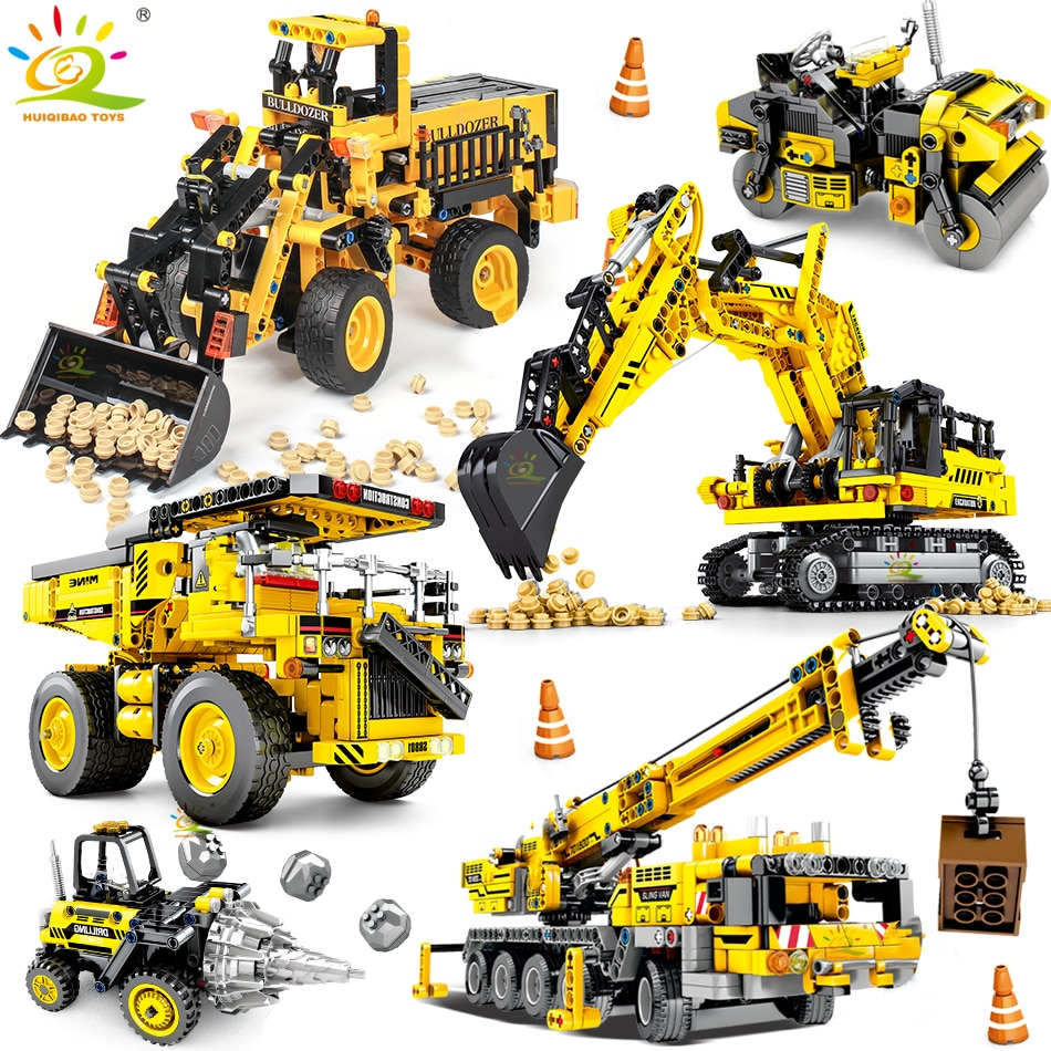 HUIQIBAO Engineering Bulldozer Crane Dump Truck Building Blocks City Construction Technical Vehicle Car Toy For Children Gift