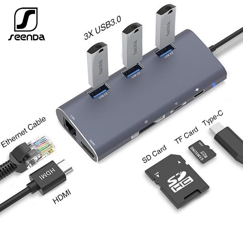 SeenDa USB C HDMI VGA Lan Ethernet RJ45 adaptador para Macbook de tipo profesional C Hub lector de tarjetas 2 USB 3,0 tipo-A + tipo-C