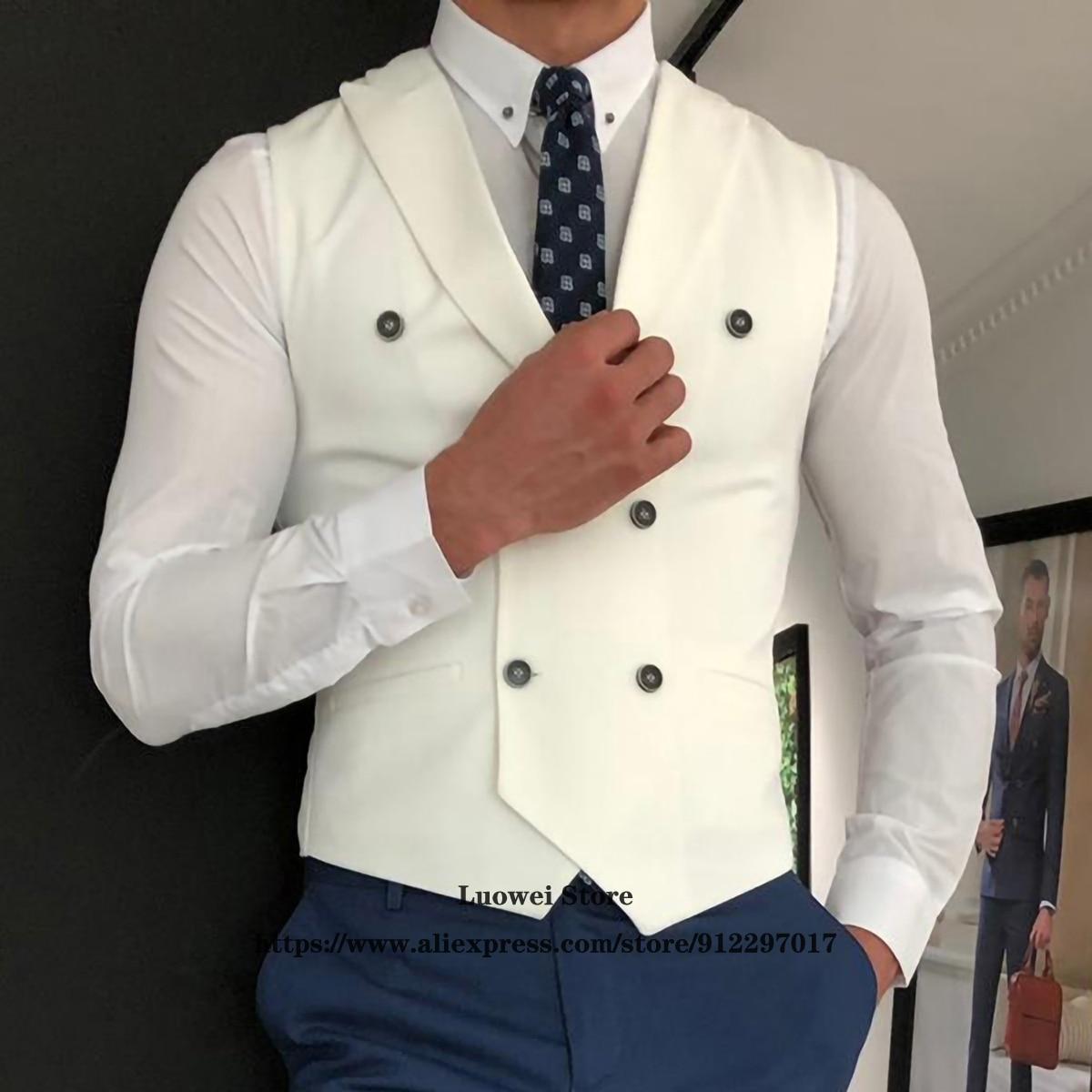 Жилет мужской классический, двубортный Приталенный жилет, повседневный белый свадебный жилет для шафера