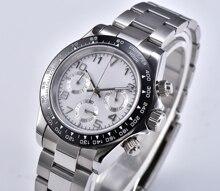 Watch chronograph new Japanese quartz movement vk63 sapphire 39mm crystal ceramic bezel sterile dial steel bracelet D02