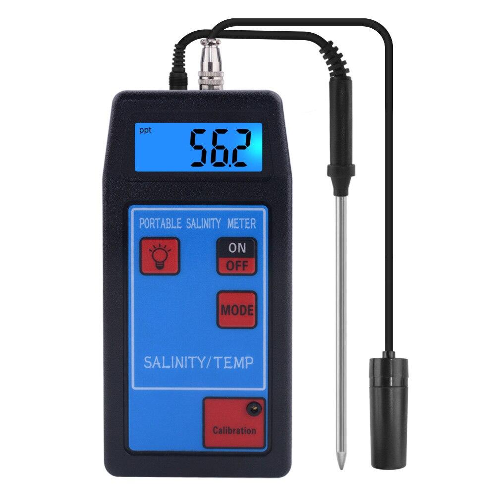 Medidor de salinidad probador de temperatura interior sonda reemplazable de contenido de sal de acuicultura Digital portátil de agua potable con retroiluminación