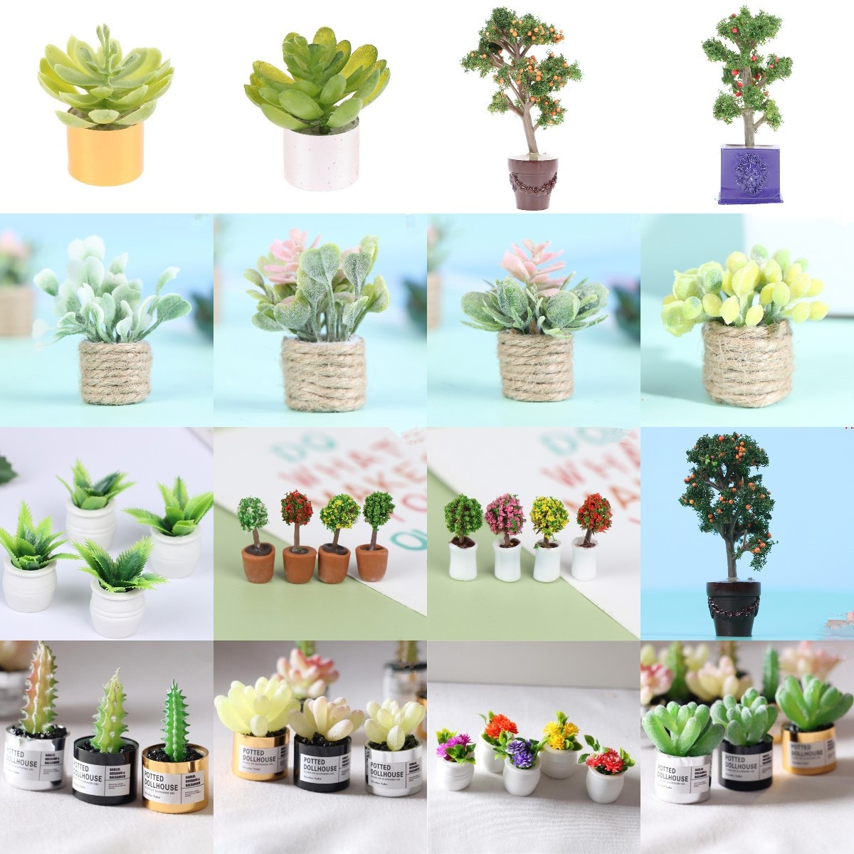 1 12 dollhouse miniature potted plant ceramic pot brasiletto Mini Flower Potted For Green Plant In Pot Simulation Plants Doll House Furniture Home Decoration 1:12 Dollhouse Miniature