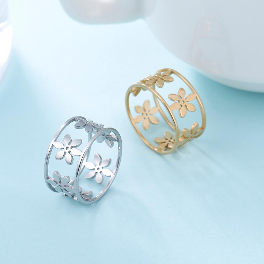 Skyrim 2020, anillo de dedo de flor romántico, acero inoxidable, ancho hueco, mujeres, chicas, informal, joya anillos de compromiso, regalo de aniversario