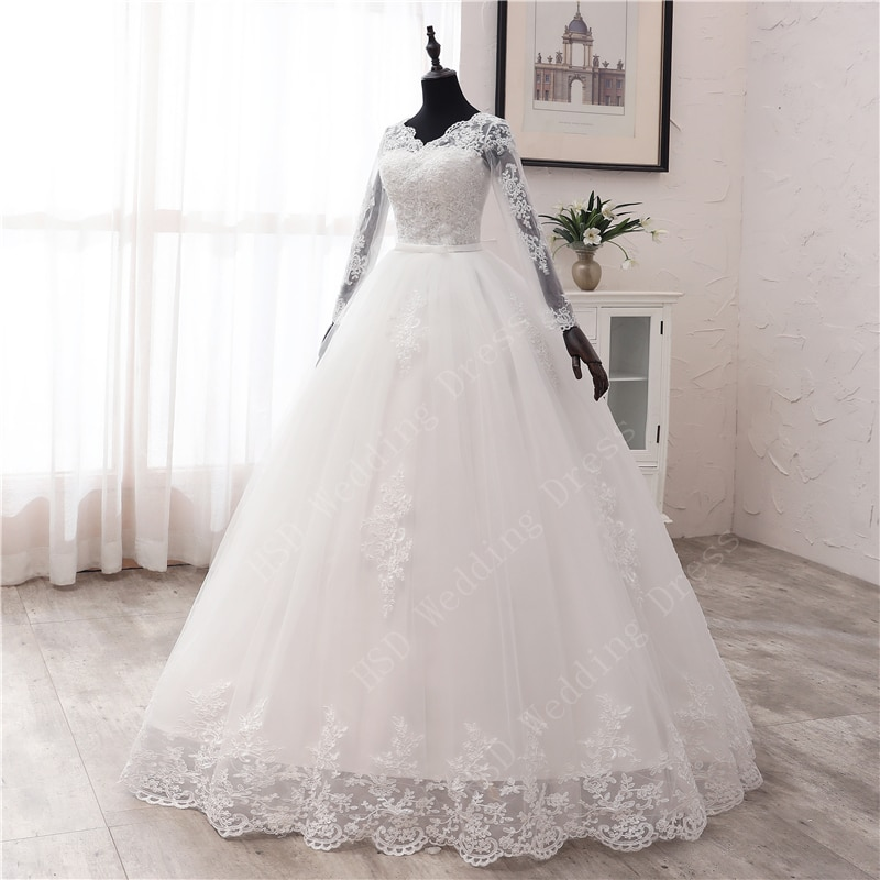 New Spring Lace Appliques Wedding Dresses Long Sleeve Vestidos De Novia 2021 White V-Neck Princess Bride Wedding Gowns Plus Size