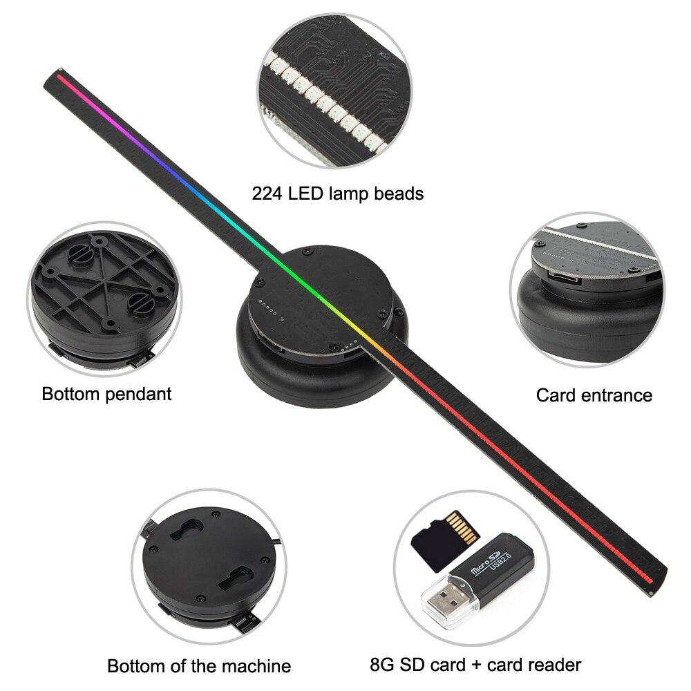 Wi-Fi 3d вентилятор голограмма проектор настенный светодиод знак голографический лампа плеер изображения и видео пульт реклама дисплей