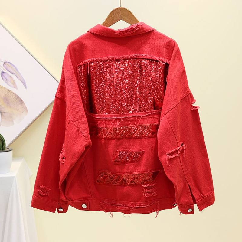 Sequins Denim Jacket Women Basic Coat Spring Autumn Long sleeve Loose Short Jeans Jacket Red Black Frayed Hole Outerwear Female