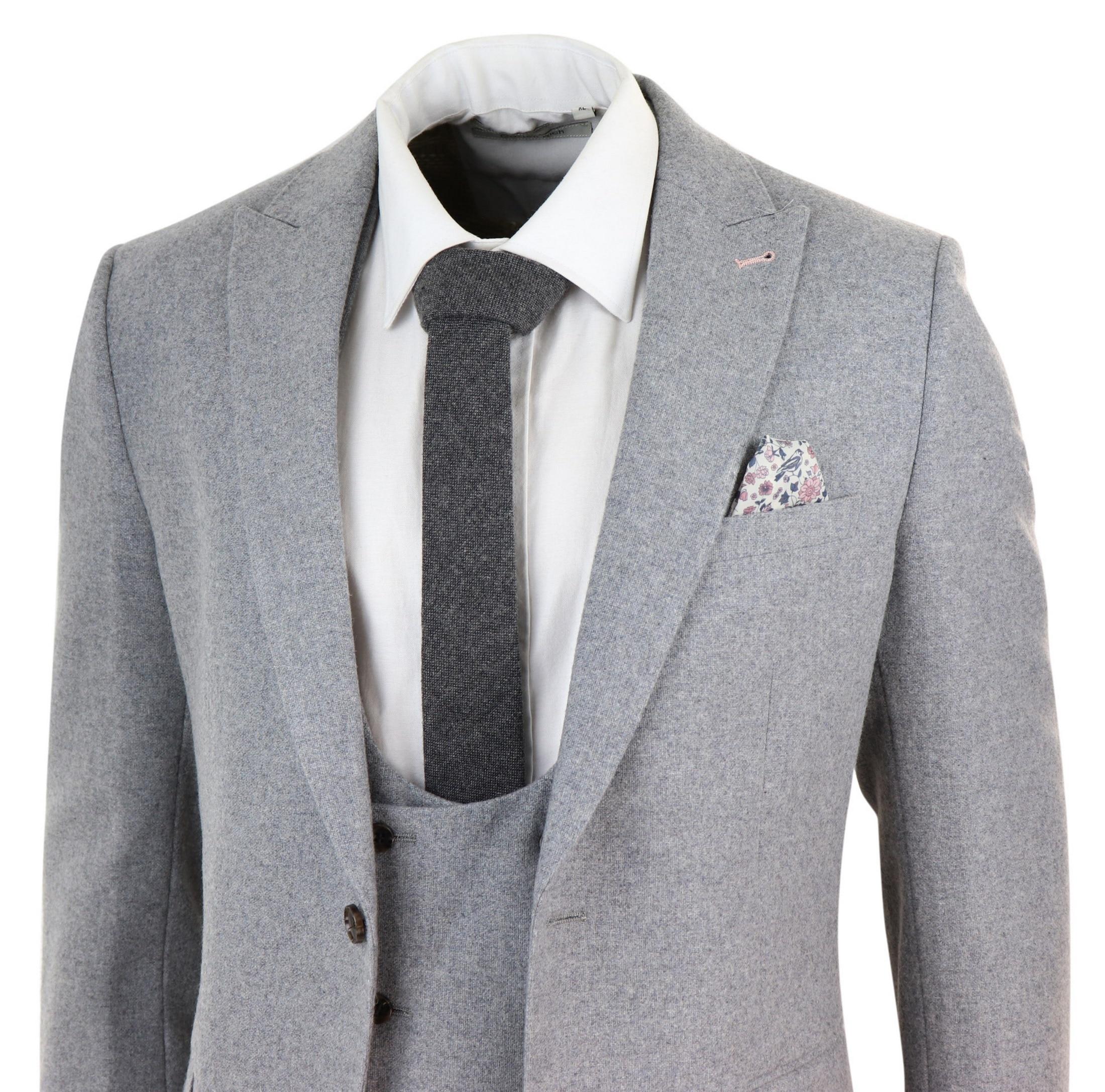 Trajes de hombre de mezcla de lana gris 2020 traje de esmoquin de boda de diseñador de solapa con pico de tres piezas para el novio