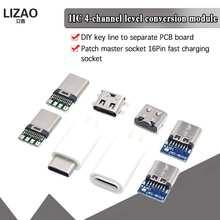5 шт. Тип C USB 3,1 разъем 16PIN быстрой зарядки мужской разъем для пайки проводов и кабелей Модуль платы блока программного управления резистором ...