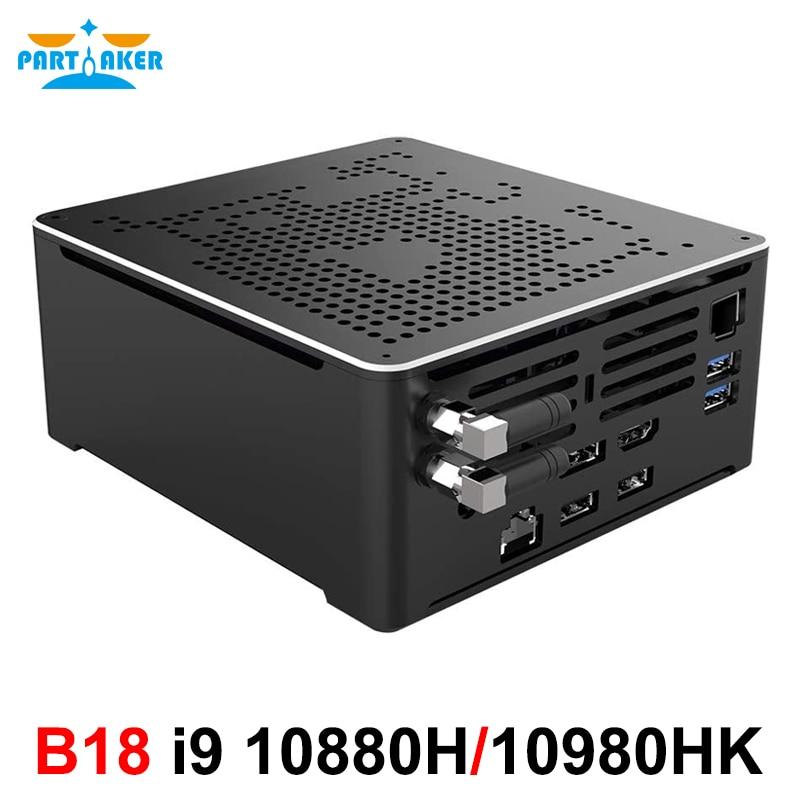 Мини-ПК, Intel i9 10880H i9 10980HK 2 * DDR4 2 * M.2 PCIE + 1*2,5 ''SATA Graphics 630, игровой бесшумный ПК HDMI DP AC Wi-Fi BT