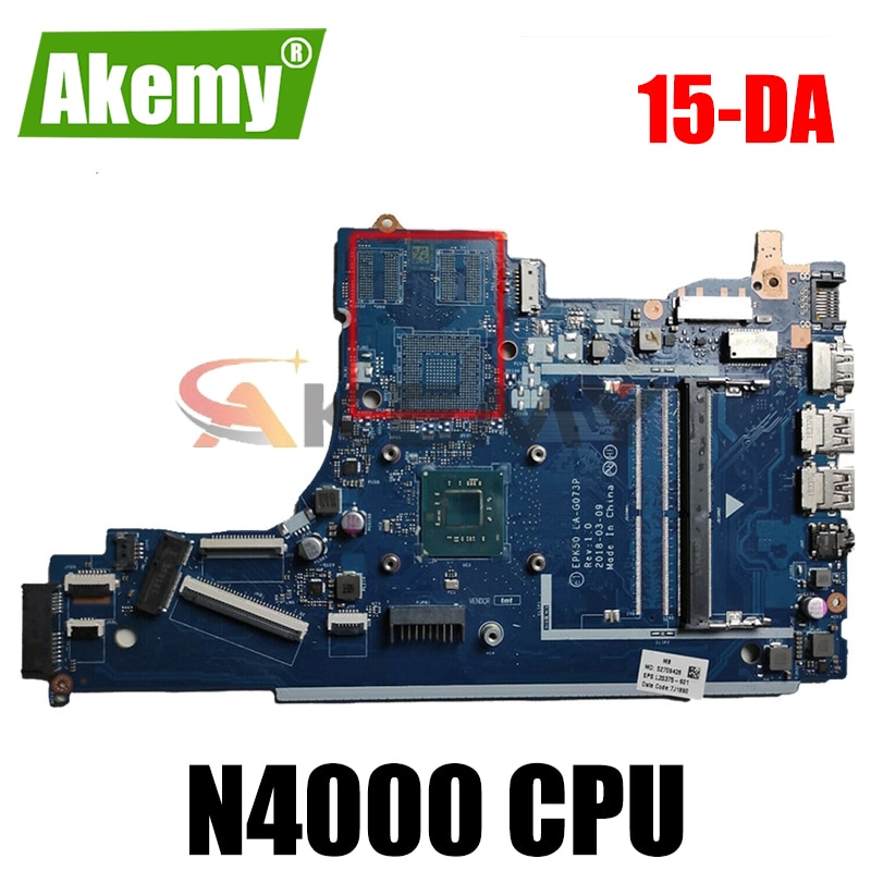 100% workingHp 15-DA اللوحة مع سيليرون n4000 cpu EDK50 LA-G073P اللوحة L20372-601 L20372-501 L20372-001 اختبار موافق