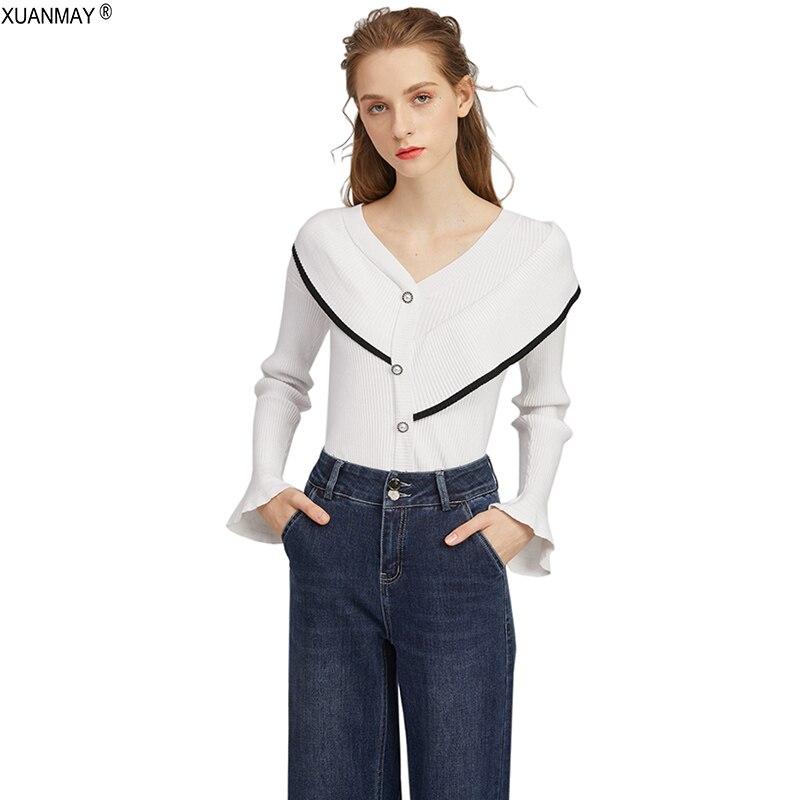 2020 Herbst Damen Cardigan Pullover Schwarz Lässig Dünn Strickpullover Cardigan Elegante Damen Lace Trim Button Cardigan Tops Frauen