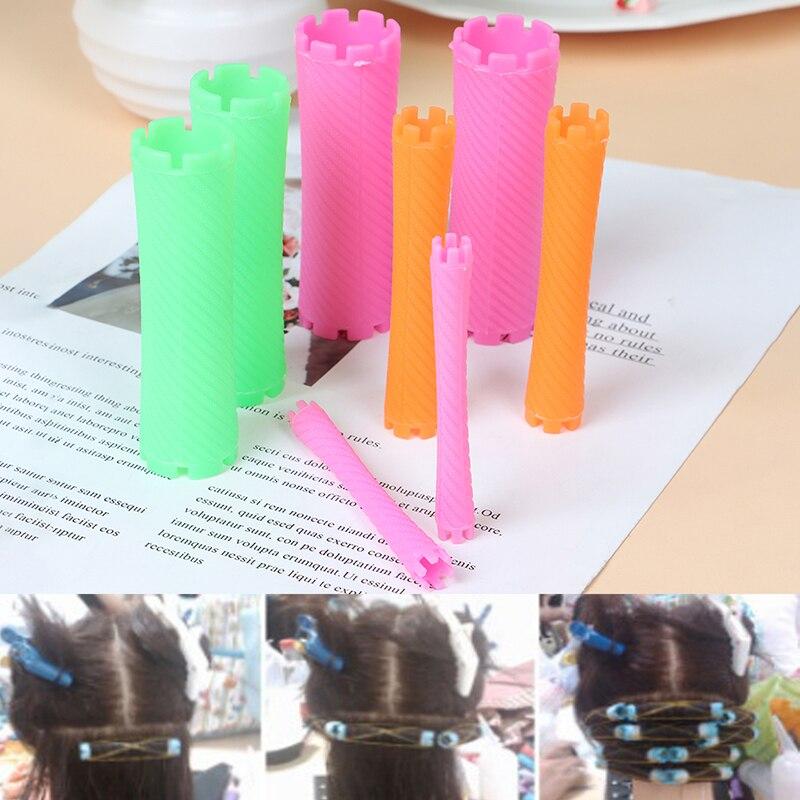 8pcs/Set Hairdressing Styling Tool Hair Roller Curlers Wave Perm Rod Corn Hair Clip Curler Maker DIY