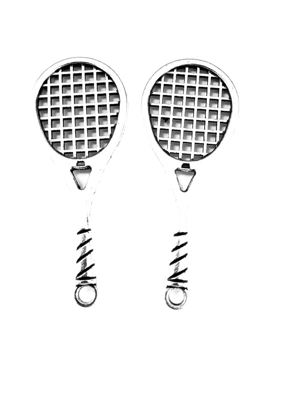 10 Uds. Colgante de abalorios de raquetas de tenis 48x19mm adornos de plata antigua accesorios para hacer joyas material base artesanal