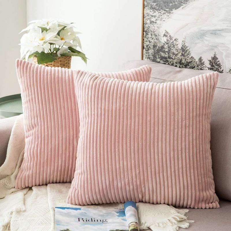 1 Uds moderno de pana funda de felpa para cojín de Color sólido rayas funda de almohada suave cómodo tiro Fundas de cojín para sofá cama para decoración de hogar