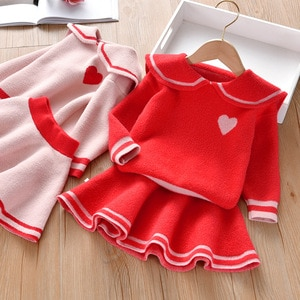 Winter Lapel Long Sleeve Mini Cotton Solid Color Stripe Pullover Korean Version 2021 Red Keep Warm Skirt Suit Two-Piece TZ00151