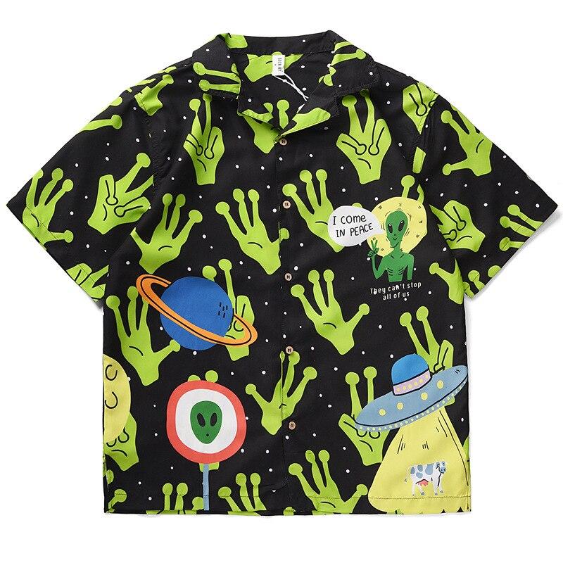2021 جديد الصيف شاطئ عطلة الرجال هونغ كونغ نمط قميص غير رسمي مريحة فضفاضة زيادة المد العلامة التجارية الرجال قصيرة الأكمام قميص