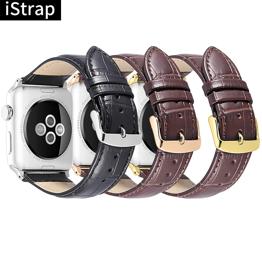 IStrap Apple Watch Correa 38mm 42mm cuero genuino 40mm 44mm negro marrón correa de reloj con Pin hebilla