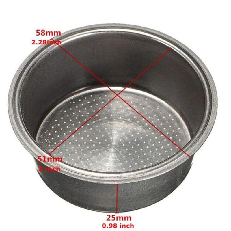 Coffee Machine Americano Tea Filter Basket Silver Stainless Steel Monolayer Nothing Pressure Porous Powder Bowl
