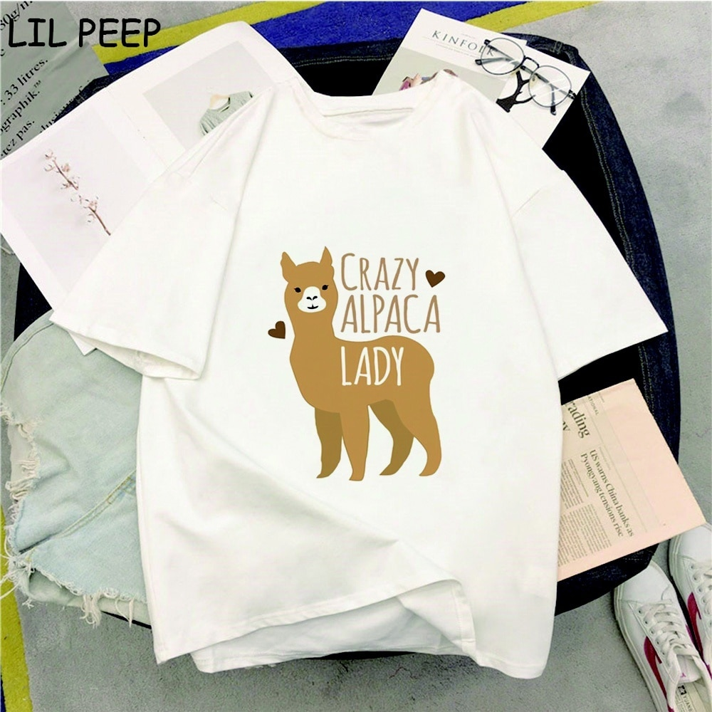 2020 moda louca alpaca senhora impressão coreano roupas 90s coreano oversized t camisa plus size japonês streetwear vintage camisas