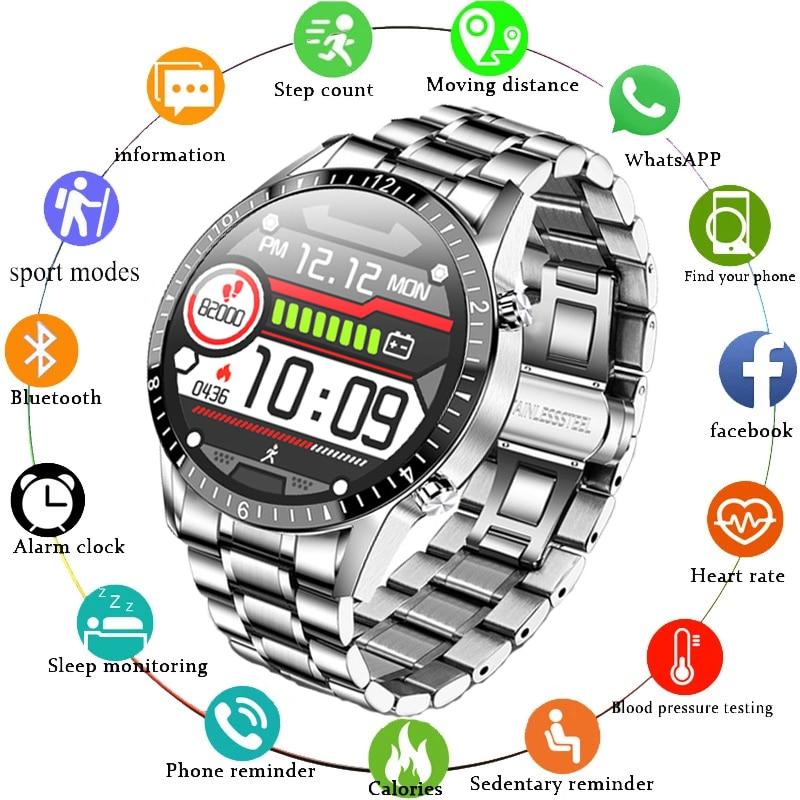 GEJIAN 2021 fashion Full circle touch screen Mens Smart Watches IP68 Waterproof Sports Fitness Watch