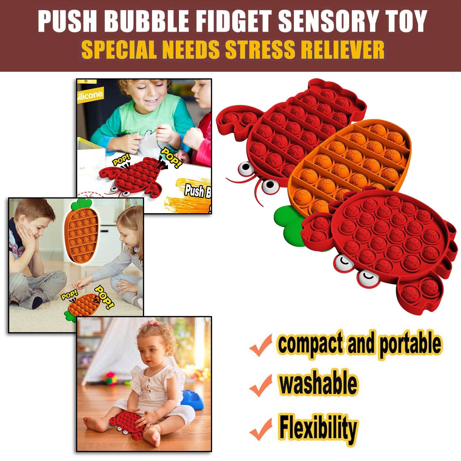 Push Pops Bubble Fidget Sensory Toy Autism Special Needs Stress Reliever Set 3Pcs Adult Kids Antistress Toys детские игрушки 5* enlarge