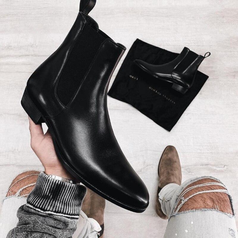 Botas De cuero sintético para Hombre, botines De vaquero a la moda, color negro, talla 38-48, calzado De Seguridad