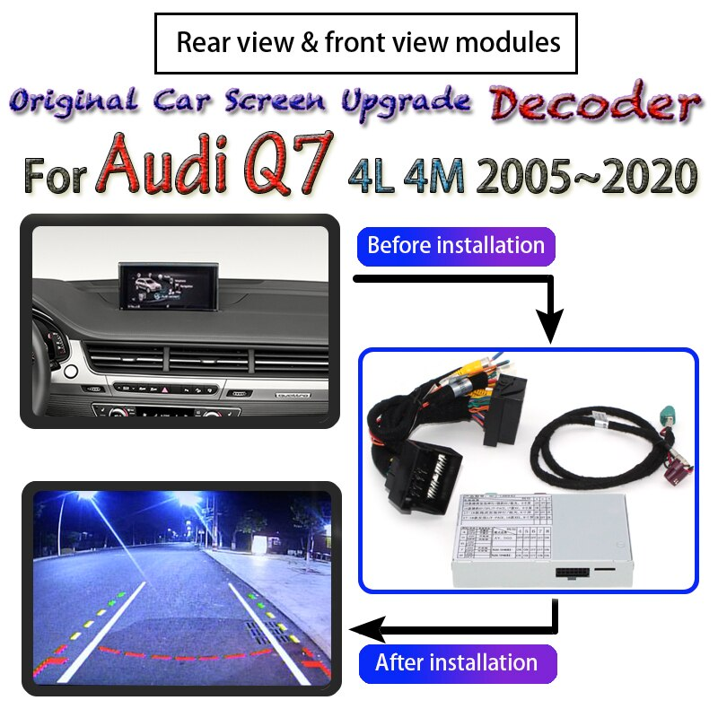 Decodificador de pantalla de cámara Reverser para Audi Q7 4L 4M MMI 2005 ~ 2020 interfaz Actualización de pantalla Original adaptador de cámara de respaldo de estacionamiento