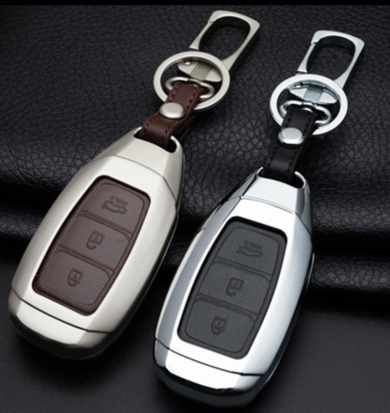 Zinc alloy  Car Key Case For Hyundai Santa Fe TM 2019 I30 2018 Solaris Azera Elantra Grandeur Accent Keychain Holder Protector