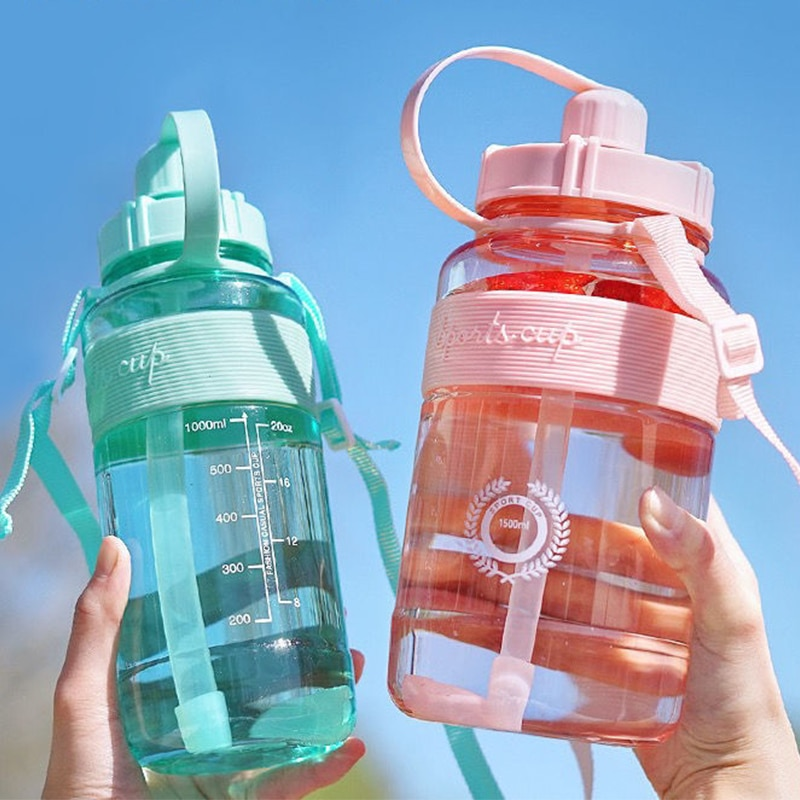 Large Capacity Plastic Water Cup Women Summer Backpack Portable Water Bottle With Straw Men Outdoor