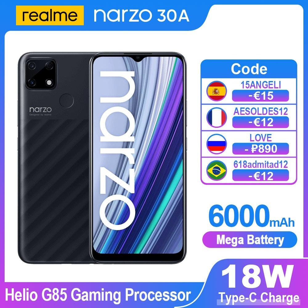 Перейти на Алиэкспресс и купить 【750₽-150₽:Ucenka251】Realme Narzo 30A смартфонов 6,5 дюймов полноэкранный 13MP супер Ночная 6000 мАч Android мобильный телефон