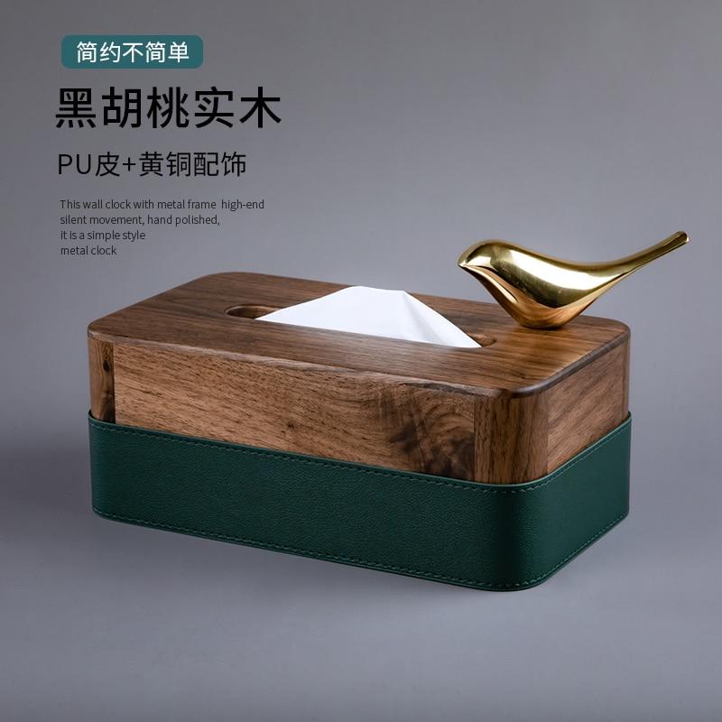 Luxury Simple Creative Wooden Tissue Storage Box Tissue Paper Napkin Holder Decorative Box Boite Rangement Home Storage BJ50TB