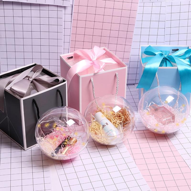 Caja de bolas de regalo transparente, caja de plástico para perfume y...