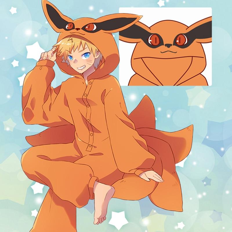 Anime Cosplay Costumes Kurama Pajamas Flannel Kyuubi Sleepwear Onesies Jumpsuit For Adults