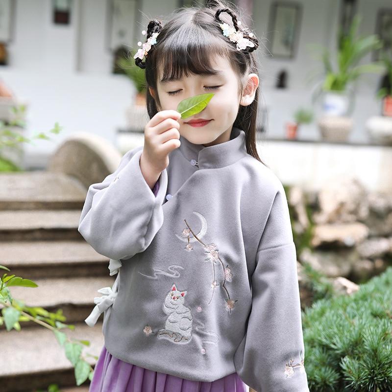 Otoño Invierno niñas chino estilo nacional bordado Retro abrigo niños tradicional Dinastía Tang chica Hanfu gato ropa de encaje