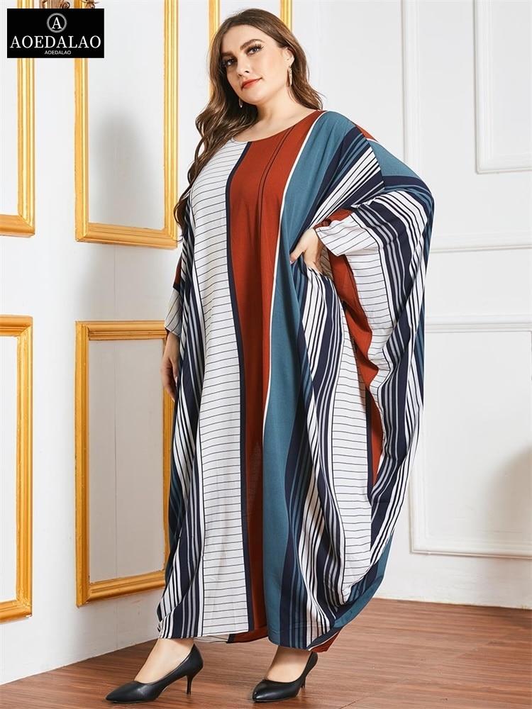 ملابس نسائية كبيرة الحجم بألوان مخططة وأكمام تشبه جناح الخفّاش ملابس إسلامية موضة تركية عربية عباية قفطان ماروكين