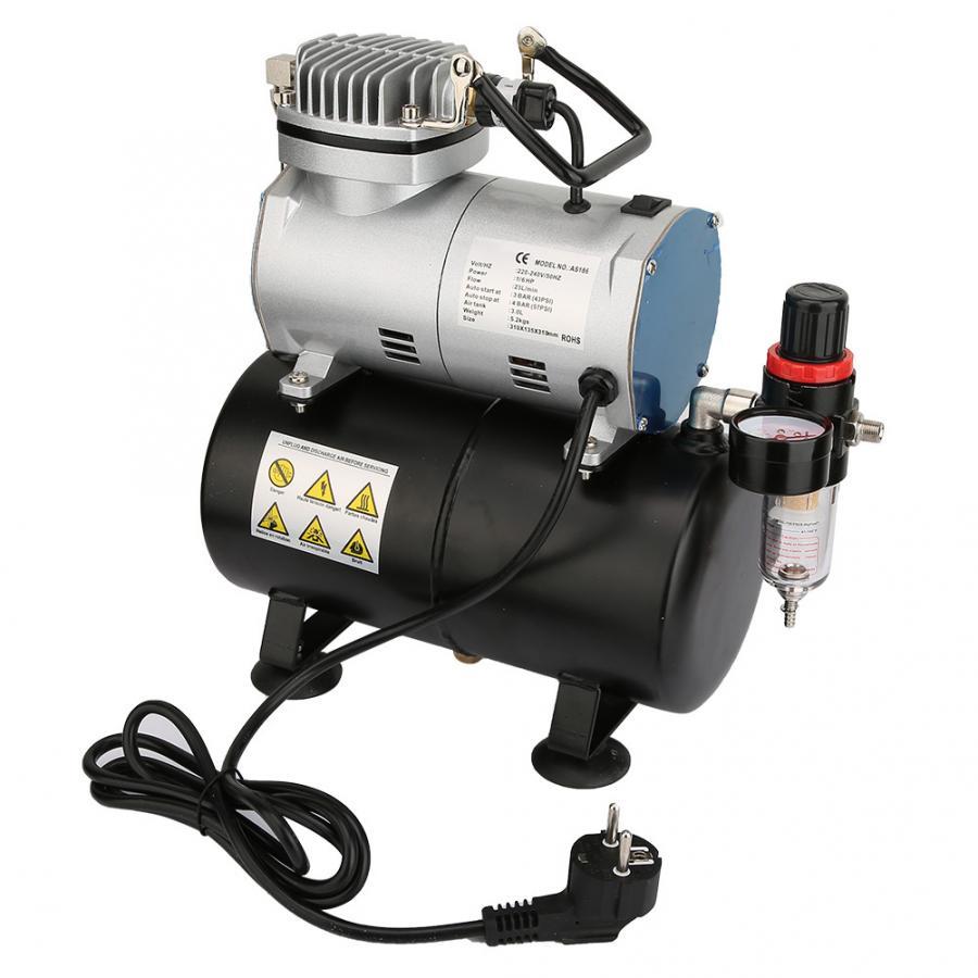 1/6 cavalos de potência airbrush compressor de ar do pistão do cilindro único com tanque ue 220 v su pompasi