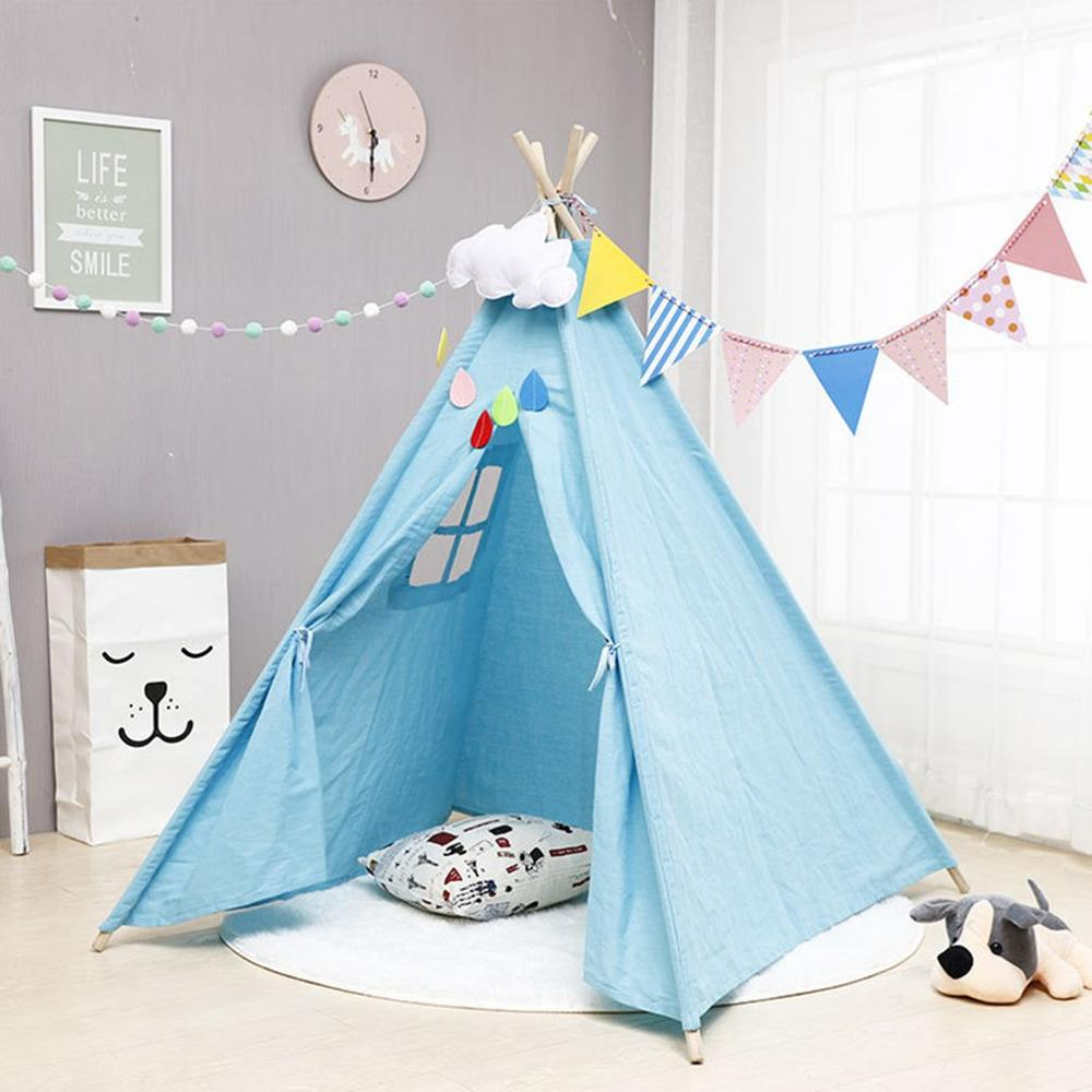 1.35M/1.6M Indian Style Children Tent for Kids Removeable Gaming Tent Tung Wood Indoor Bedroom Accessories Cute Castle Tent