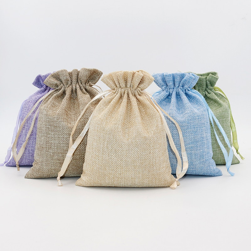 Lote de 5 unidades de bolsas de lino y algodón para regalo, bolsa con cordón para joyería, bolsa reutilizable para envolver dulces en bodas y cosméticos